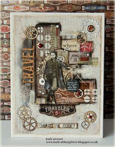 Simon Says Stamp Monday Challenge 18 June 2018 - Transport It using Tim Holtz/Stampers Anonymous Dapper and Vintage Auto, Idea-ology Expedition Ephemera, Paper Dolls and Tim Holtz/Sizzix Gearhead Thinlits Altered Canvas, Altered Art, Altered Tins, Mixed Media Cards, Mixed Media Collage, Art Journal Pages, Art Journals, Junk Journal, Steampunk Cards