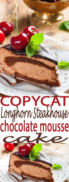 This is a copycat Longhorn Steakhouse Recipe you will love. Chocolate mousse is always a winner. Brownie Desserts, Oreo Dessert, Mini Desserts, Coconut Dessert, Chocolate Desserts, Easy Desserts, Cake Chocolate, Healthy Desserts, Easy Chocolate Mousse
