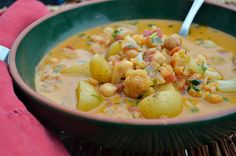 Curried Coconut Soup with Chickpeas and Cauliflower