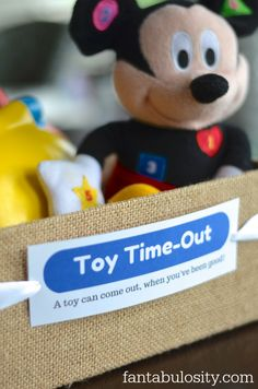 Toy Time-Out!  Brilliant!  Download this free printable too!  I love this direction of parenting, with child discipline! http://fantabulosity.com