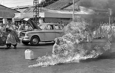 Thich Quang Duc, a Buddhist monk, burns himself to death on a Saigon street on June 11, 1963, to protest alleged persecution of Buddhists by the South Vietnamese government. President Ngo Dình Diem, part of the Catholic minority, had adopted policies that discriminated against Buddhists and gave high favor to Catholics. (Malcolm Browne/AP)