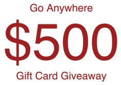 Go Anywhere $500 Gift Card Giveaway!  Ends: 03/31/2017 Value: $500.00 Eligibility: US 18+ Monthly Entry  Enter: http://giveawayplay.com/2017/02/04/go-anywhere-500-gift-card-giveaway-territory-ahead-2/