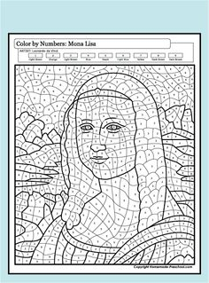 Color by Numbers - Mona Lisa Art Sub Plans, Art Lesson Plans, Colouring Pages, Coloring Books, Arte Elemental, Color By Number Printable, Mona Lisa, Art Handouts, Art Worksheets