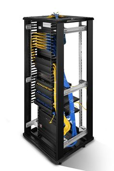 Buy plastic single sided horizontal cable management panel with finger duct from reliable wire management supplier - FS. Wire Management, Cable Management, Data Rack, Network Cabinet, Organizing Wires, Cool Tech, Diy Electronics, Declutter, Exhibit Design