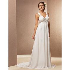 Sheath/Column V-neck Court Train Chiffon Wedding Dress – USD $ 229.99