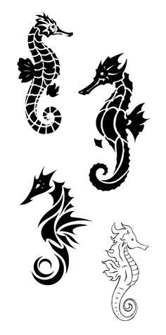 Awesome Four Seahorse Tattoo Stencil