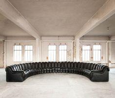 """34 Piece De Sede DS600 """"Snake"""" Sofa in Original Black Leather"""