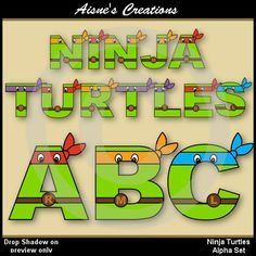Alphabet clip art set inspired by TMNT (Teenage Mutant Ninja Turtles)