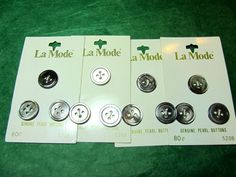 """(12)  5/8"""" LaMODE SMOKY GENUINE PEARL 4-HOLE BUTTONS 4-CARD LOT (N906)"""