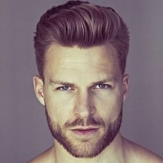 Modern Short Haircuts - Tapered Sides + Brushed Up Hair + Beard