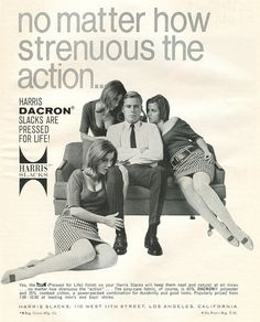 Men's Fashion Ads Dripping With Sexual Tension. Busty trio fails to test strechability of crotch of man's Dacron® pants.