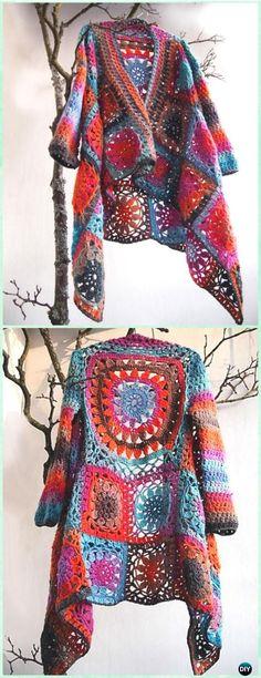 Crochet Flower Granny Square Patchwork Jacket Free Pattern - Crochet Granny Square Jacket Coat Free Patterns