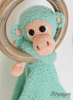 Haakpatroon knuffeldeken aap Abel, gemaakt van Scheepjes Sweetheart, Softfun, Twinkle en Catona.