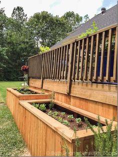 Large Backyard Landscaping, Backyard Garden Landscape, Backyard Ideas, Landscaping Around Deck, Pond Ideas, Garden Oasis, Raised Patio, Raised Garden Beds, Raised Beds