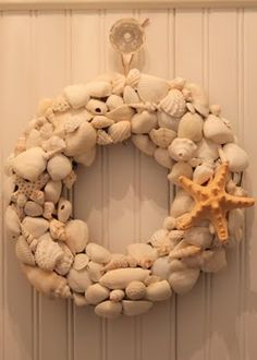 shell wreath. I used all the shells I have collected over the years. Left them as their natural color and glued them to a grapevine wreath.