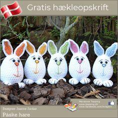 Påske er, for de fleste, ensbetydende med påskeharer og nu k Yarn Crafts, Diy And Crafts, Easter Crochet Patterns, Diy Easter Decorations, Happy Easter, Bunny, Gave, Christmas Ornaments, Knitting