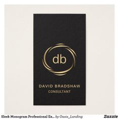 Sleek Monogram Professional Executive Business Card - Sleek Monogram Professional Executive Business Card Modern and sleek with masculine appeal, this professional business card design features a brass-toned swish frame surrounding your monogram, text, or business logo. Available at Oasis_Landing on Zazzle.