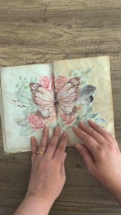 Mini Scrapbook Albums, Mini Albums, Journal Pages, Junk Journal, Decoupage Paper, Handmade Books, Vintage Ephemera, Book Making, Spring Crafts
