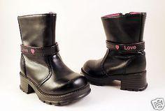 Toddler-Girl-Black-Fashion-Boots-ASAP-Sz-5-Chunky-Heels-Love-Pink-Hearts-Zipper