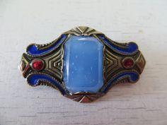 Brooch Pin Art Nouveau Blue Glass Emerald by HerbgirlAndVintage