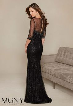Evening Gowns and Mother of the Bride Dresses by Morilee. Beading on Net Over Allover Sequins Evening Gown