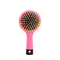 VORCOOL Rainbow Volume Anti-static Magic Hair Curl Straight Massage Comb Brush with Back Mirror (Pink) ** To view further for this item, visit the image link.