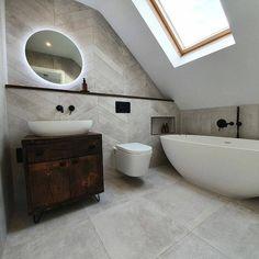 Wood Panel Bathroom, Tv In Bathroom, Bathroom Vanity Units, Attic Bathroom, Wood Vanity, Bathroom Design Small, Dream Bathrooms, Bathroom Interior, Modern Bathroom