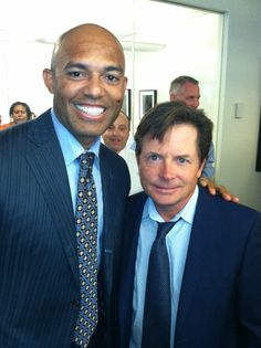 New York Yankee Mariano Rivera and actor Michael J Fox at 9/11 Memorial