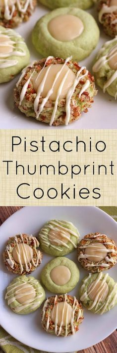 Pistachio Thumbprint Cookies with Cream Cheese Filling and White Chocolate Drizzle dessert Brownie Cookies, Cookie Desserts, Yummy Cookies, Cookie Recipes, Dessert Recipes, Chocolate Cookies, Super Cookies, Pudding Cookies, Chocolate Food