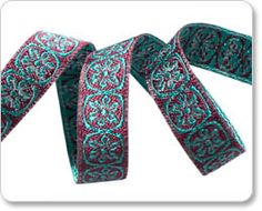 Maroon and Turquoise  Spinning Wheels Ribbon - Anna Maria Horner