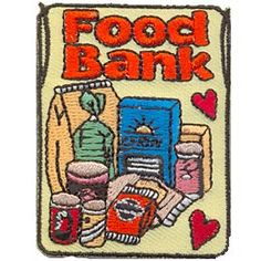 Food Bank, Groceries, Bag, Food, Can, Grocery, Patch, Embroidered Patch, Merit Badge, Crest, Girl Scouts, Boy Scouts, Girl Guides