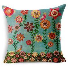 "Natural Sun Flower Home Decor Cotton Linen Cushion Cover Lusr Pillowcase 18""/45"
