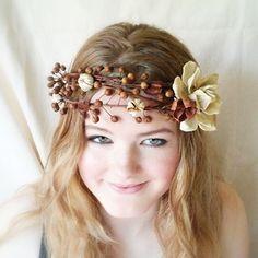 woodland flower crown pinecone flower crown by Willowandblossom