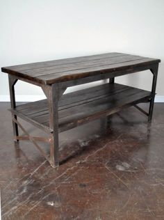 Industrial Work Table - would love this for a table or outdoor kitchen