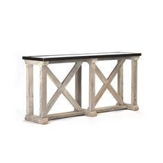 From its rustic whitewashed crisscrossing wooden beams to the vintage texture of its zinc tabletop, this console table's versatility is immediately. Modern Sofa Table, Sofa Tables, Console Table, Ship Lap Walls, Upholstered Chairs, Home Furnishings, Entryway Tables, Hall Tables, Solid Wood