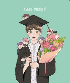 Oww Crdts for the owner Bts Chibi, Kpop Fanart, Bts Drawings, Pencil Drawings, Bts Bangtan Boy, Bts Jimin, K Pop, Seokjin, Namjoon