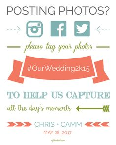 Free wedding hashtag sign printable from @offbeatbride