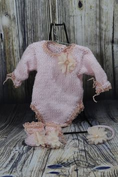 Pink Knitted Romper Set to fit 10-11 inch Reborn dolls
