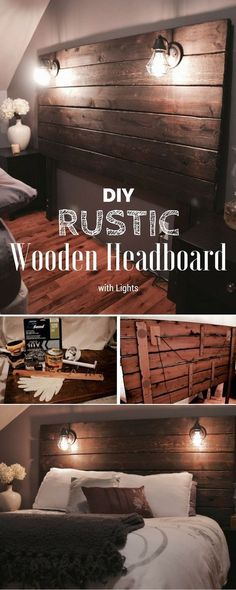 Great idea! #DIY #Rustic Wooden Headboard with Lights
