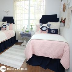 We are swooning over this boho vibe dorm bedding. Our best selling blush pink quilt pairs with solid navy, ivory linen and furs, and a pink & navy boho accent pillow that is textured and unique.