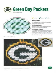 Packers made pattern Plastic Canvas Coasters, Plastic Canvas Ornaments, Plastic Canvas Christmas, Plastic Canvas Crafts, Plastic Canvas Patterns, Plastic Craft, Plastic Board, Cross Stitch Designs, Cross Stitch Patterns