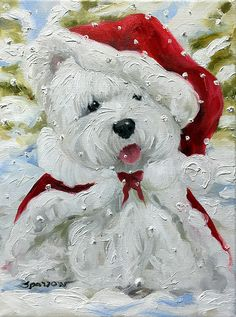 """Westie Santa Christmas Cards, prints and gifts! """"Let it Snow"""""""