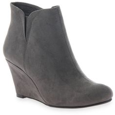 Madeline Dark Gray Perfumed Bootie - Women's (78 CAD) ❤ liked on Polyvore featuring shoes, boots, ankle booties, dark gray, wedge heel booties, wedge ankle booties, wedge ankle bootie, short boots and dark grey boots