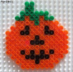 Halloween pumpkin hama perler beads by Les loisirs de Pat