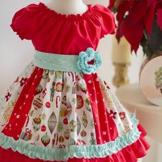 This gorgeous handmade baby dress is perfect for any special occasion. The pink rose colored cotton fabric is adorned with white polka dots, and a large white Frilly Dresses, Little Girl Dresses, Flower Girl Dresses, Toddler Dress, Baby Dress, Kids Outfits Girls, Girl Outfits, Girls Holiday Dresses, Christmas Dresses