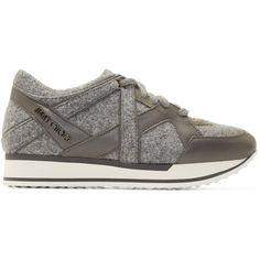 e1dba5e5ba55 Jimmy Choo Grey Felt London Sneakers ( 595) ❤ liked on Polyvore featuring  shoes