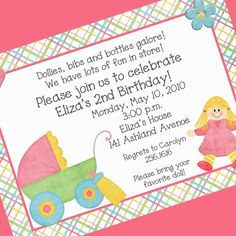 Cute For Little Girl B Day Party Printable Invitations Invitation Wording