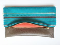 Tuquoise and Brown Fold Over Clutch by NellieAndPhoebs on Etsy