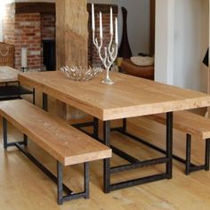 Furniture Ideas. Wonderful Teak Rectangular Handmade Reclaimed Wood Table With Angle Legs As Decorate Rustic Furnishing Ideas: Breathtaking Rectangular Reclaimed Wood Table Black Iron Base With Benches On Rustic Floor In Rustic Restaurant Furnishing Ideas