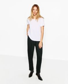 Image 1 of T-SHIRT WITH ASYMMETRIC HEM from Zara